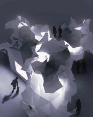 Il padiglione di notte, con i suoi giochi di luce e ombre. ©2011 Takumi Ota Photography.